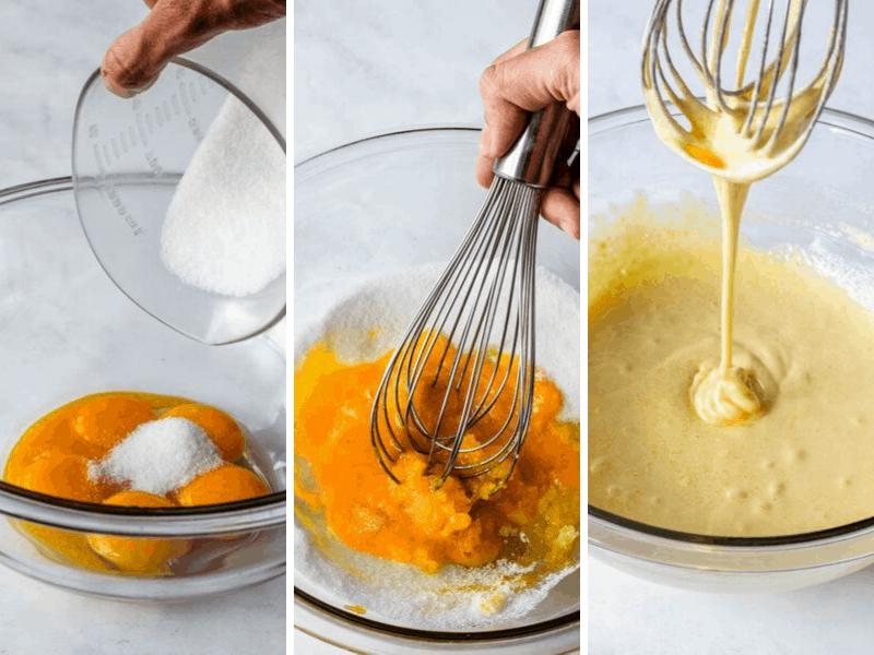 whisking egg yolks and sugar to make custard