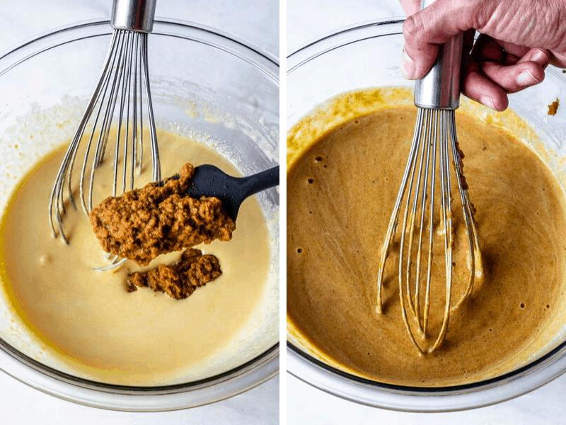 tempering egg yolks with milk/pumpkin mixture