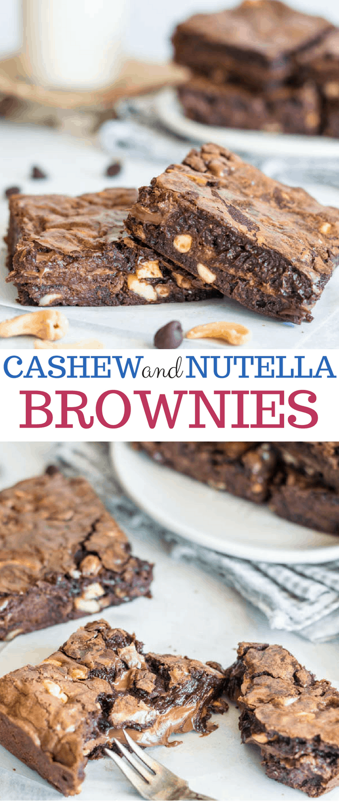 nutella and cashew brownies
