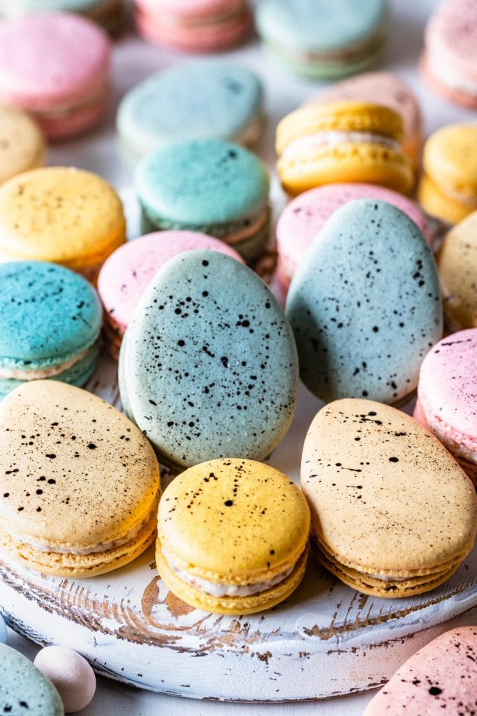 Robin's Eggs Macarons with speckled shells.