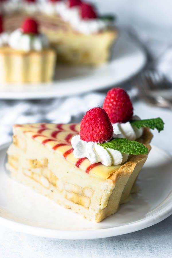 banana cream and raspberry jam pie