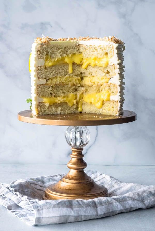 Lemon Coconut Layer Cake, inside view