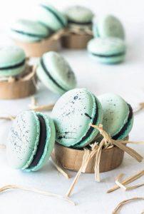 Robin's Eggs Macarons with Chocolate Ganache