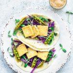 vegan tofu tacos with peanut sauce flatlay