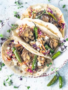 Vegetarian Tacos with Oyster Mushrooms and Serrano Chili Peppers