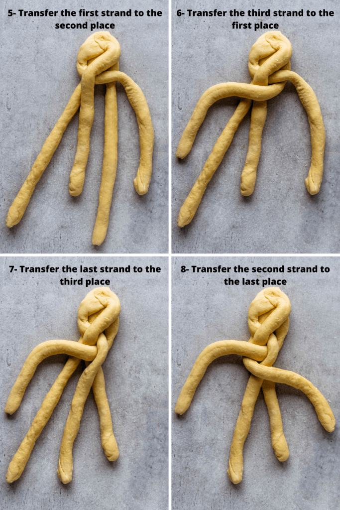 4 pictures showing how to braid challah bread.