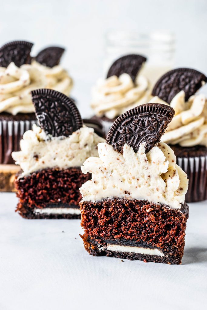 Oreo Cupcakes baked with an oreo at the bottom