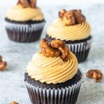 Caramel Cashew Cupcakes chocolate cupcakes with salted caramel buttercream