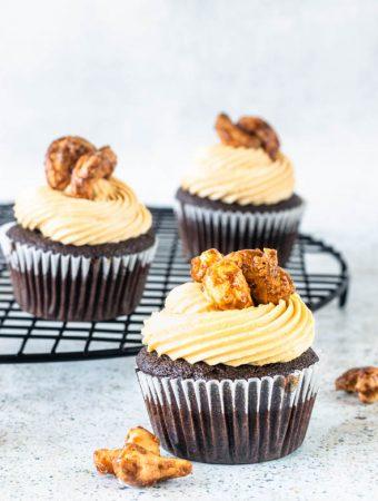 Caramel Cashew Cupcakes chocolate cupcakes with salted caramel buttercream
