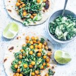 flatlay Crispy Chickpea Tacos with Kale Slaw and Tahini Dressing