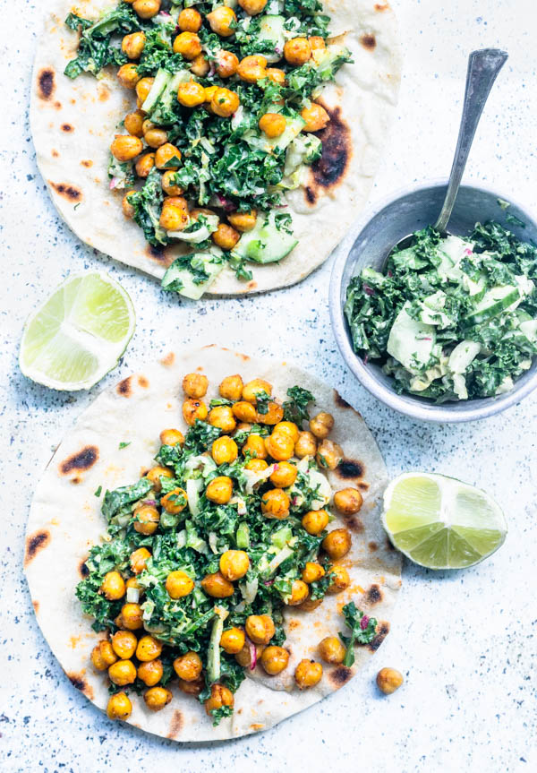 Crispy Chickpea Tacos with Kale Slaw and Tahini Dressing