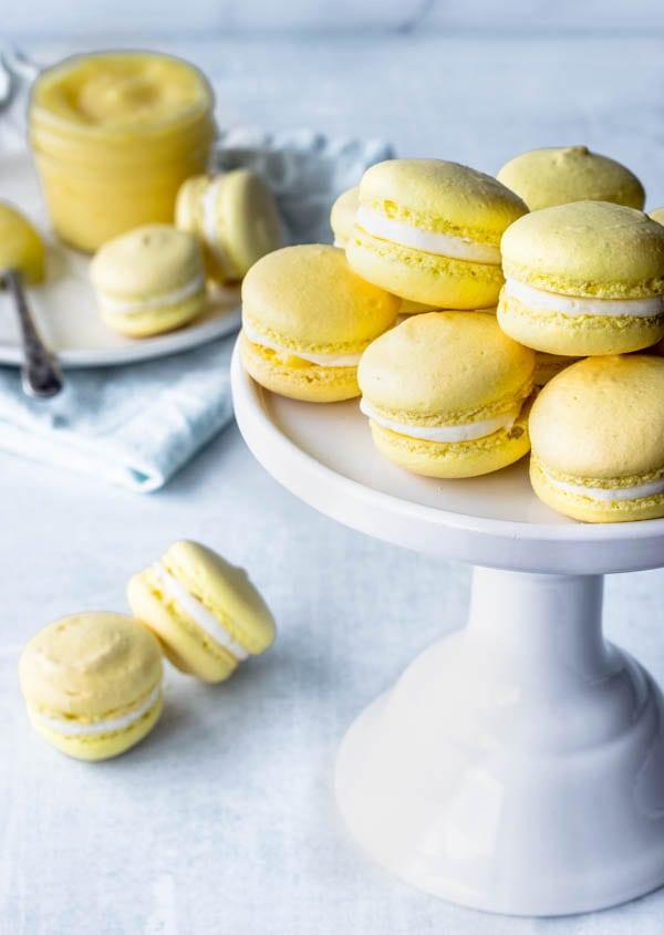 lemon macarons ina. cake stand lemon curd
