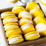 lemon macarons in a box