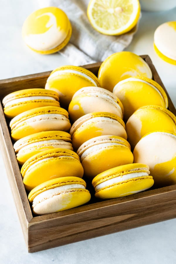 lemon macarons in a box