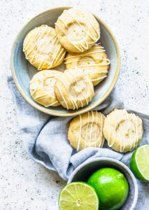 Lime Thumbprint Cookies with White Chocolate Glaze flatlay