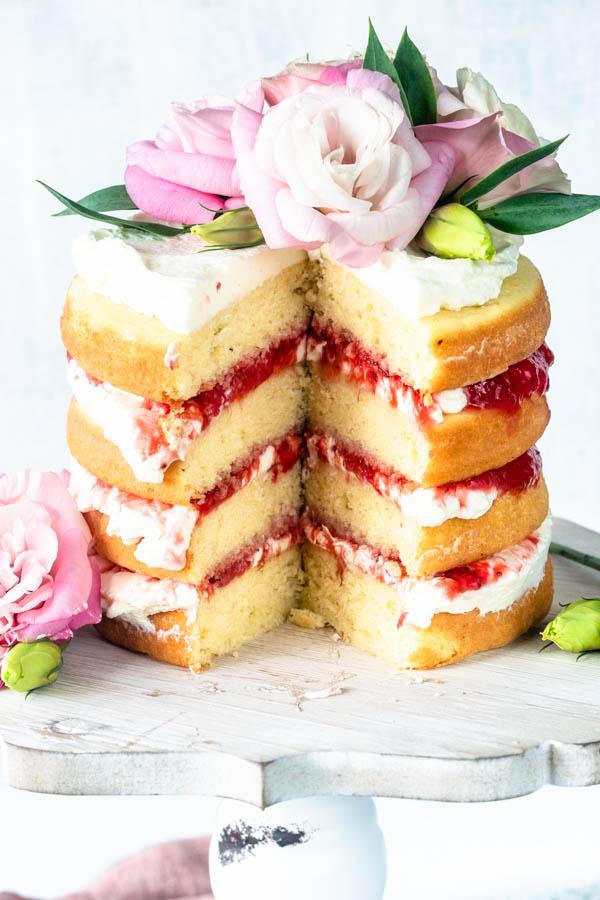 Strawberry Rhubarb Almond Cake