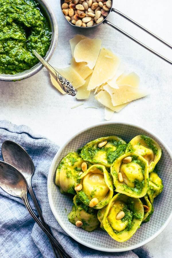 Spinach and Garlic Scapes Pesto Tortellini