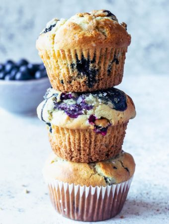 Tall Blueberry Muffins bakery style