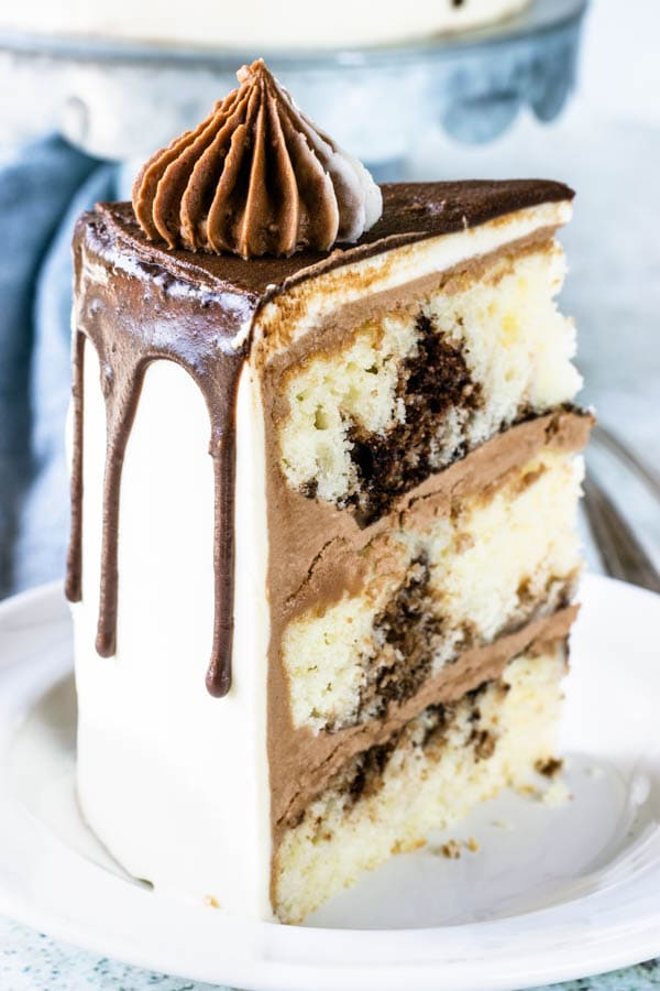 Marble Layer Cake slice