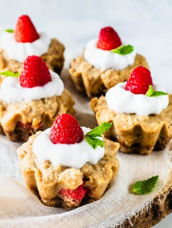 Vegan Cookie Cups with Raspberries and Peaches