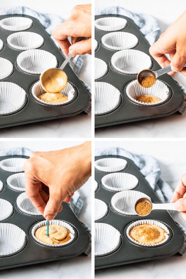 4 pictures showing how to make a cinnamon swirl on the cupcake batter.