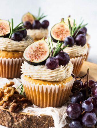 Grape Cupcakes with walnut buttercream