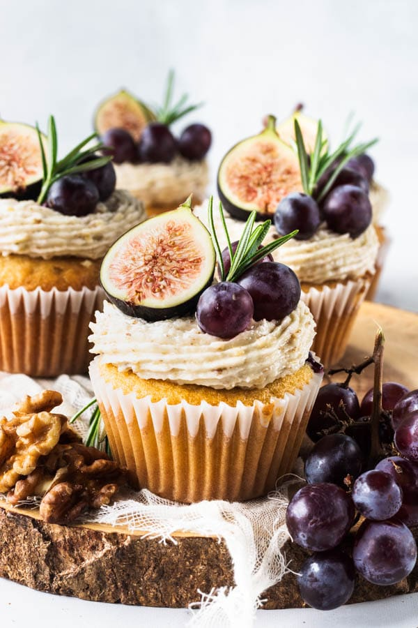 Grape Cupcakes with walnut buttercream