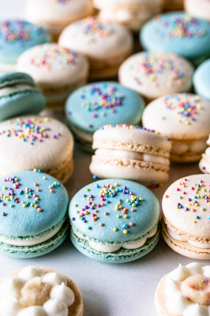 Birthday cake Macarons topped with sprinkles.