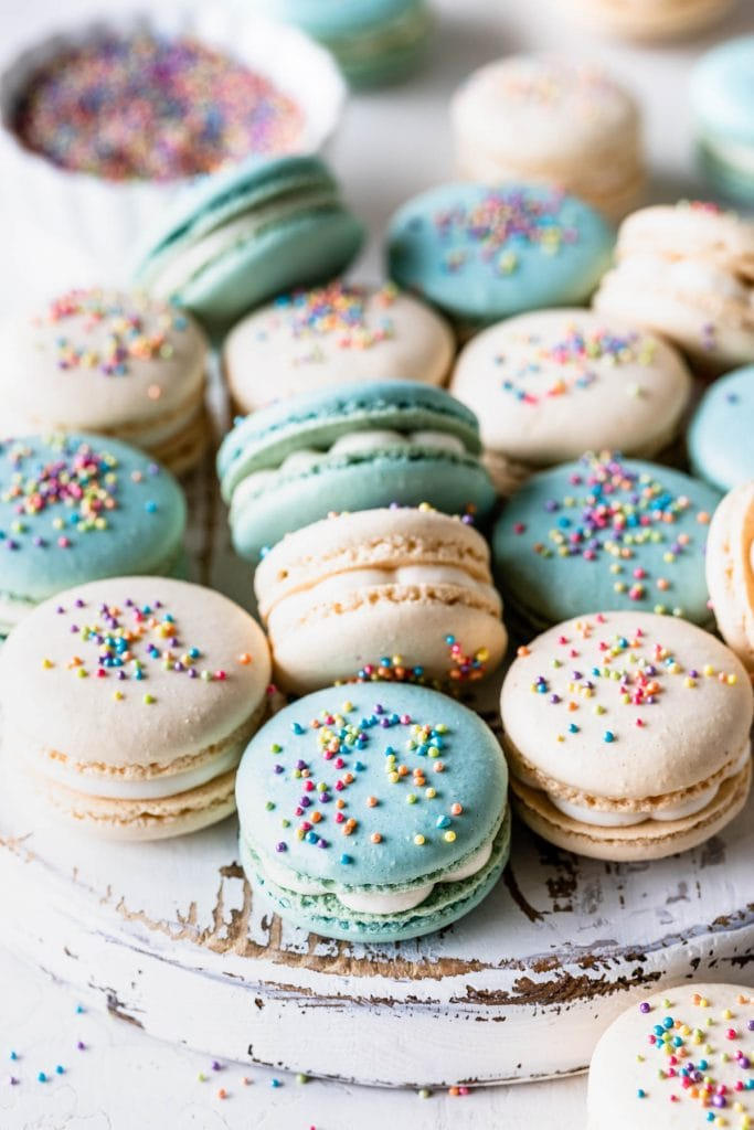 Funfetti Macarons topped with sprinkles.Funfetti Macarons topped with sprinkles.