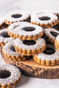 Fudge Gingerbread Linzer Cookies