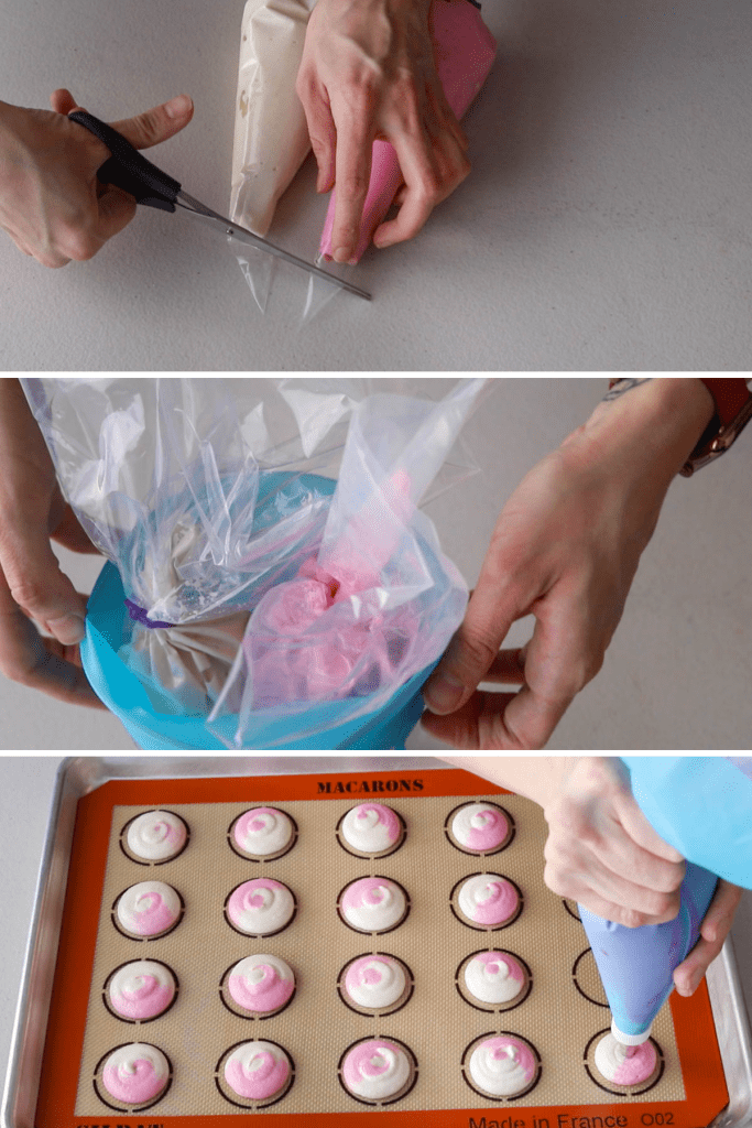 three images showing how to pipe a two tone macaron batter.