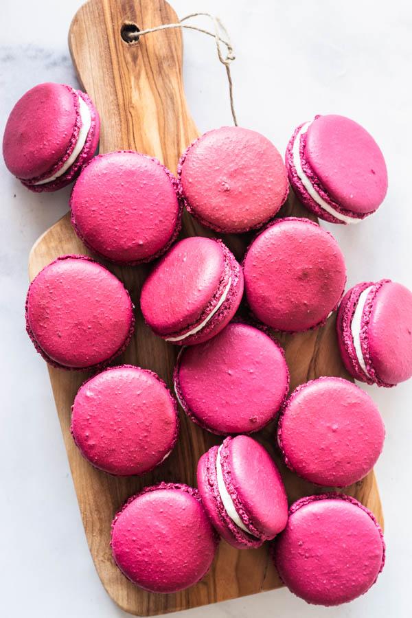 Pomegranate Macarons