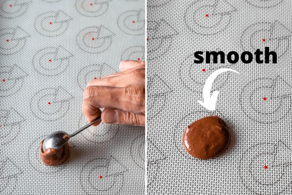 spooning macaron batter onto mat.