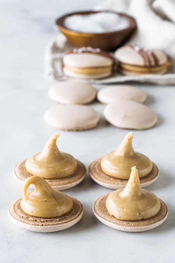 Vegan Salted Caramel Macarons