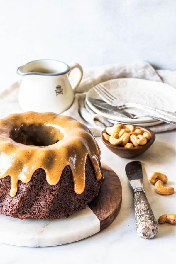 banana cashew caramel vegan bundt cake
