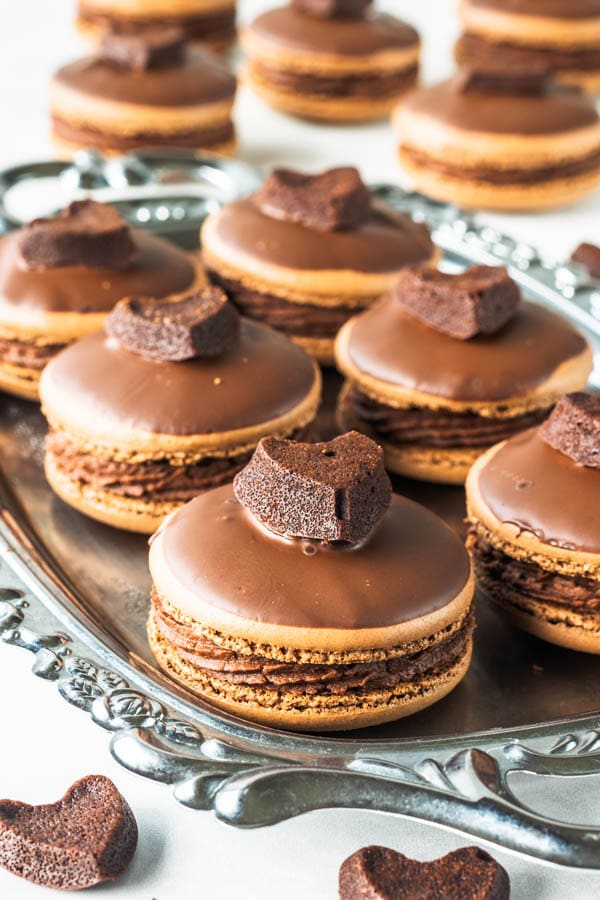brownie macarons in a silver tray