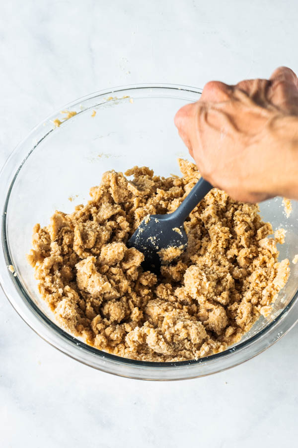 mixing dough with spatula