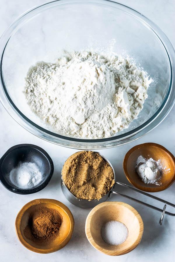 dry ingredients gathered to make vegan graham crackers