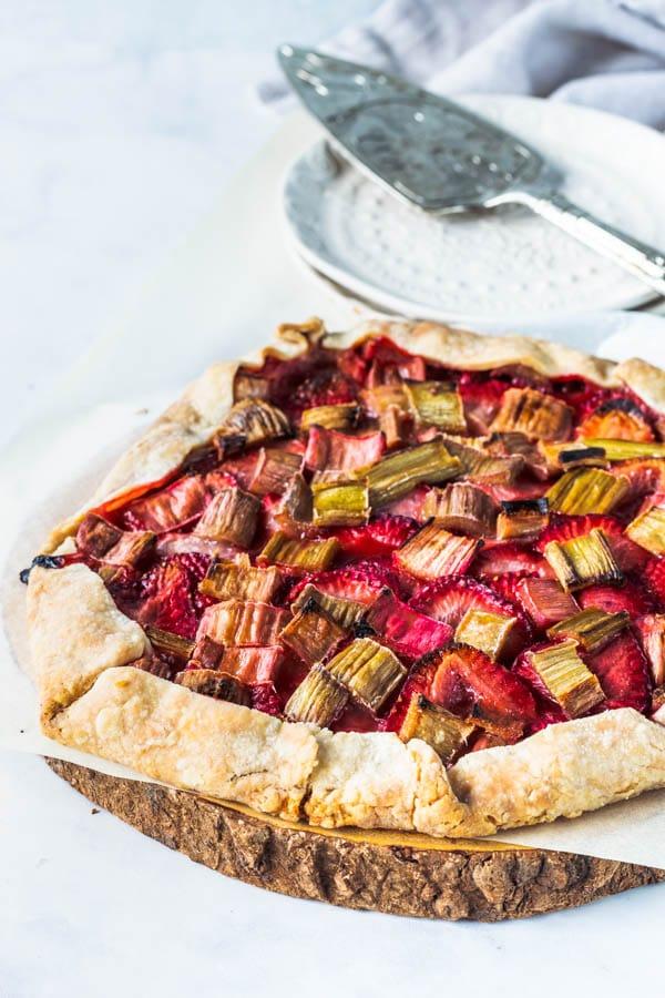 Vegan Strawberry Rhubarb Galette