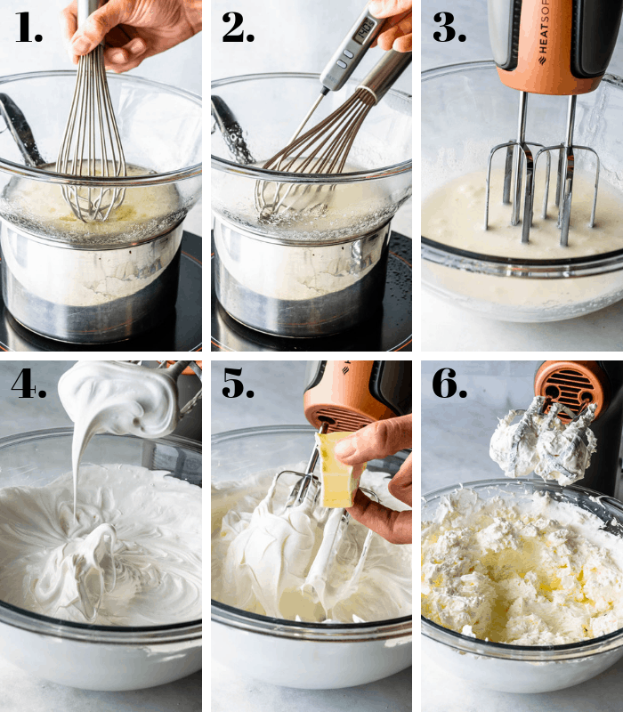 process pictures of making swiss meringue buttercream