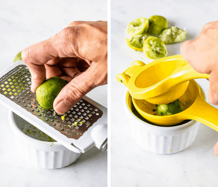zesting a key lime and squeezing lime juice