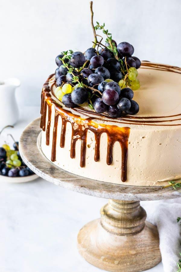 Grape cake with Balsamic Caramel Swiss Meringue Buttercream