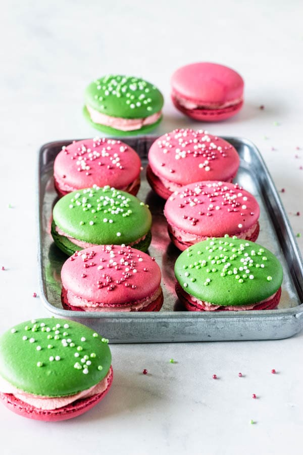 key lime raspberry macarons