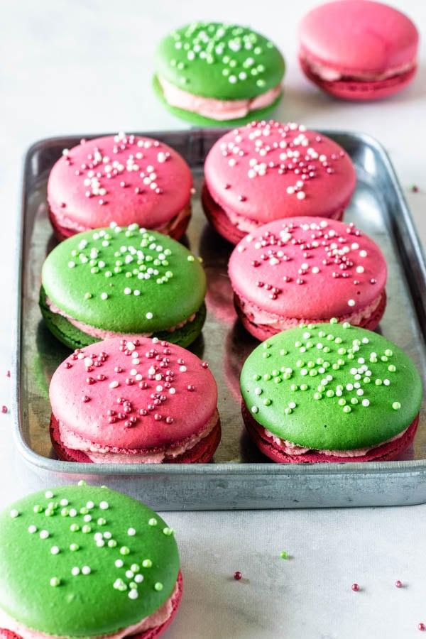 key lime raspberry macaron