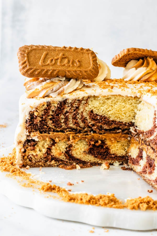 vegan marble cake sliced cross section