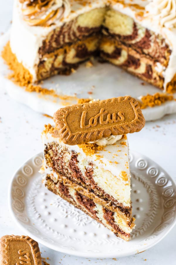 biscoff vegan marble cake slice