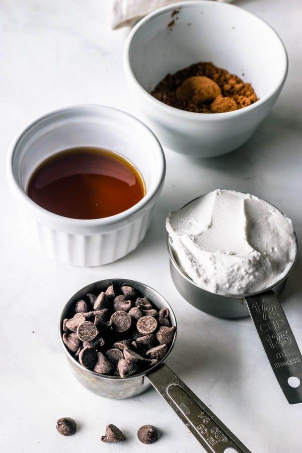 ingredients for vegan fudge sauce