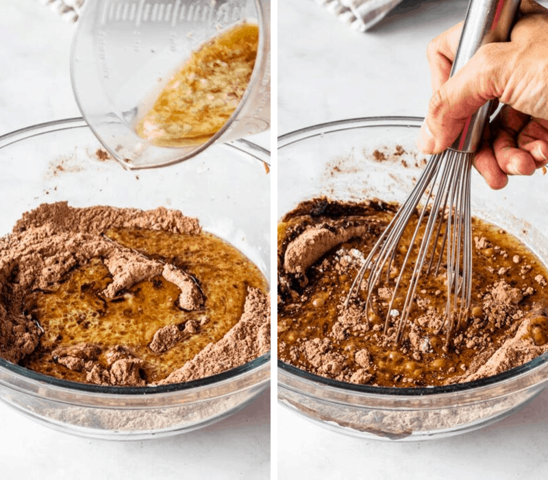 making vegan chocolate cupcake batter, adding wet ingredients to dry and whisking mixture