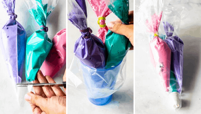process of making multi colored macaron shells from the same batter