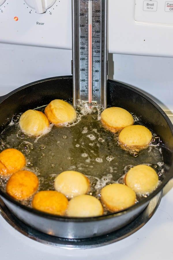 frying donuts in oil